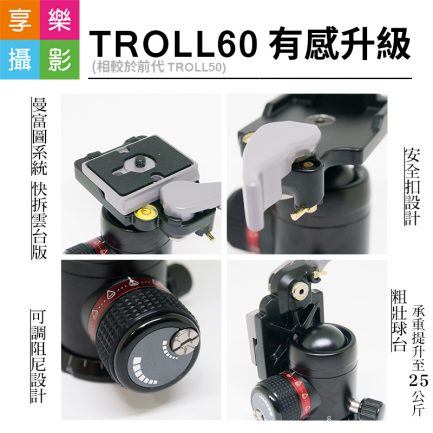 "FOTOFLEX TROLL60 專業球型雲台 底部3/8"" Manfrotto 系統 快拆 阻尼可調"