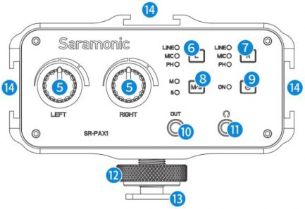 Saramonic SR-PAX1 3.5mm/6.35mm XLR 機上型混音器 支援48V幻象電源輸出