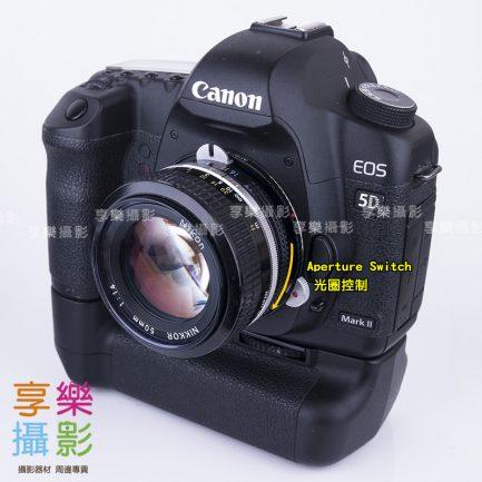 黑色 Nikon G鏡 AF鏡頭 - Canon EOS EF 轉接環 可調光圈