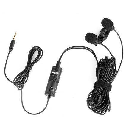 BOYA BY-M1DM 領夾式麥克風-雙麥頭 手機/相機 3.5mm通用款領夾麥克風 直播訪談/錄影採訪
