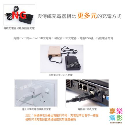 FOTODIOX LCD液晶螢幕USB相機鋰電池充電器 micro USB 行動電源充電 Nikon EN-EL14