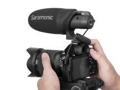 Saramonic Cam Mic + Plus 輕量化相機指向麥克風適用於數碼單反相機,無反光鏡和攝像機或智能手機和平板電腦