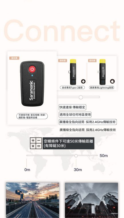 Saramonic Blink 500 B4(TX+TX+RXDi) 2.4G 無線麥克風系統 2對1 自動配對 自動跳頻 iOS設備