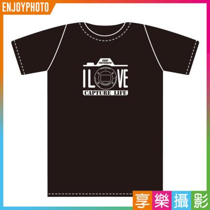 享樂攝影獨家 I LOVE CAPTURE LIFE 標語 復古相機造型 GILDAN 美國棉 無縫滾筒T 柔感排汗T恤