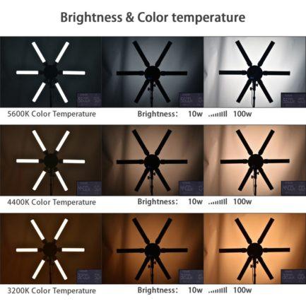 (送F750電池*2+旋轉手機夾)Cineluxr X-EYE 660 6爪蜘蛛燈 可調色溫LED持續燈 星芒燈 眼神光 環形燈 摺疊光棒 直播錄影 參考Spekular星形套件