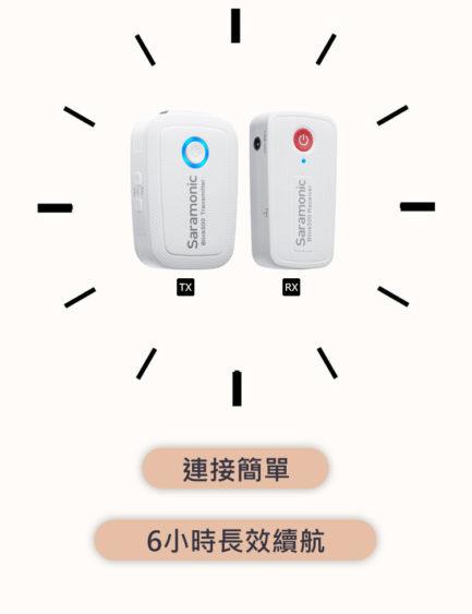 Saramonic Blink 500 B2W (TXW+TXW+RXW 3.5mm) 2.4G 無線麥克風系統 全白配色 2對1 自動配對 自動跳頻