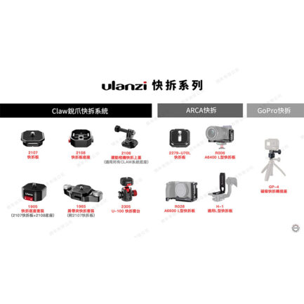Ulanzi Claw銳爪快裝板支架底座 負重50公斤 適用Gopro/腳架/相機/穩定器/滑軌/雲台