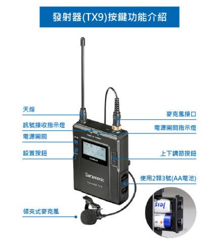 (送硬盒+小MIC+手機線)Saramonic 楓笛 UwMic9 2對1 UHF無線麥克風組TX9*2 RX9*1 二對一 廣播 製片 節目製作(曜黑版)
