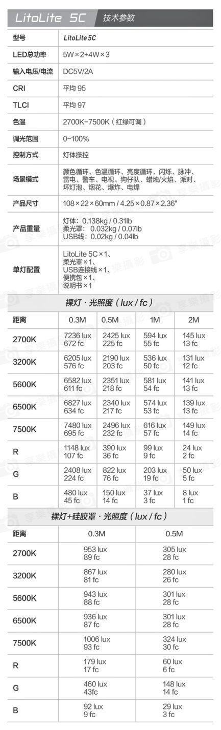 (預購中)南光/南冠LitoLite 5C RGB LED全彩口袋補光燈 曉光系列 持續燈 藍芽遙控(送原廠收納包) 平輸