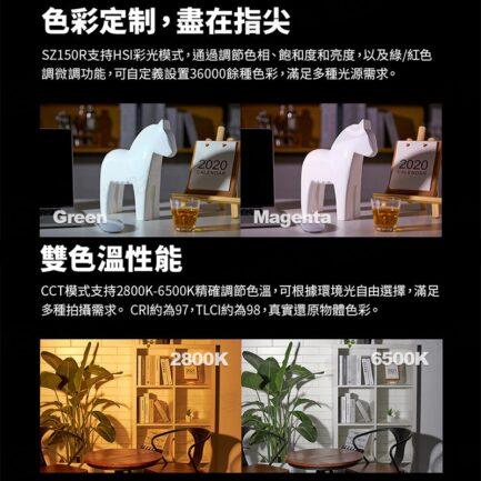(預購中)GODOX神牛 SZ150R 可變焦RGB全彩LED攝影燈 可調色溫影視燈持續燈 遙控器/DMX/APP控燈※開年公司貨