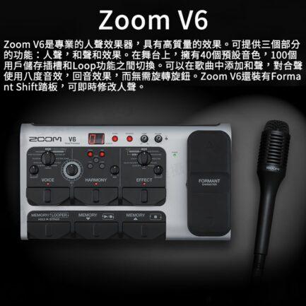 ZOOM V6 人聲效果器 伴奏直播調音 人聲/和聲/效果 Formant Shift踏板 附槍型麥克風《海國公司貨》