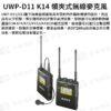 [公司貨]SONY UWP-D11 K14 領夾式無線麥克風/領夾麥 一對一(發射器+接收器) 新頻段4G不干擾