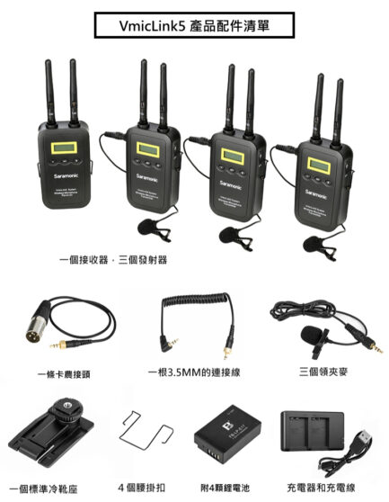 Saramonic VMicLink5 一對三 無線麥克風套裝 5.8GHz 高頻傳輸 支援即時監聽
