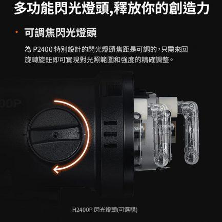 【Godox神牛 H2400P可調焦閃光燈頭(單支)】60W《不附燈管和玻璃保護罩需搭P2400電筒》保榮卡口